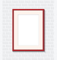 red frame on a brick wall vector image