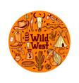 round composition with wild west elements in hand vector image