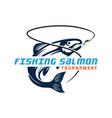 salmon fish fishing emblems vector image vector image