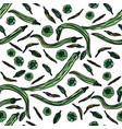 seamless pattern with green peppers vector image vector image