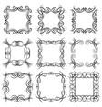 set of nine square black monogram elements vector image