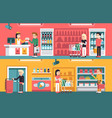 shopping people and counter in super market vector image vector image