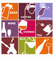 symbols of various beverages vector image vector image