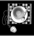 tea cup and pocket watch vector image