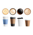 top view coffee cup isolated hot breakfast vector image
