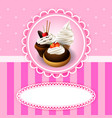 vintage background with cupcake vector image