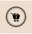 Vintage retro label tag badge shopping cart vector image vector image