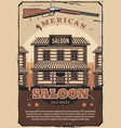 wild west retro poster american saloon and gun vector image vector image