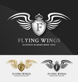 Shield and Wings logo template vector image