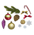 set of colorful christmas elements vector image