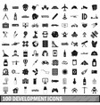 100 development icons set simple style vector image vector image