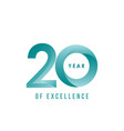 20 year excellence template design vector image