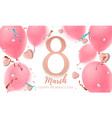 8 march womens day greeting card with candy vector image vector image