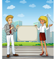 A man and a woman at the pedestrian lane holding vector image vector image
