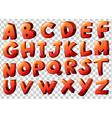 Alphabet artwork in orange color vector image vector image