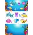 background design with many sea animals vector image