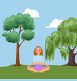 background relaxing fitness in forest nature vector image