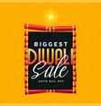 biggest diwali sale poster design with cracker vector image