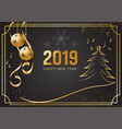black and gold background for happy new year 2019 vector image