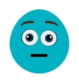 blue cartoon face with surprised expression vector image vector image