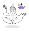 Buddha coloring book Buddha meditating Indian god vector image