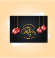 christmas golden lettering hanging ball background vector image
