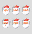 christmas santa claus head emotion faces vector image vector image