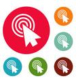 Cursor design element icons circle set