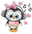 cute cartoon penguin girl with headphones vector image vector image