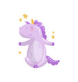cute unicorn character sitting under falling stars vector image vector image