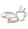 doodle loaf and cup with hot coffee vector image vector image