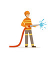fireman character holding hose extinguishing fire vector image vector image