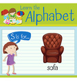 Flashcard letter S is for sofa vector image vector image