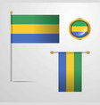 gabon waving flag design with badge vector image vector image