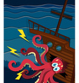 giant octopus crashing a ship vector image