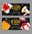 gift banner horizontal set black friday concept vector image vector image