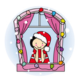 Girl dressed as Santa Claus vector image