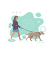 girl is walking with a dog on abstract background vector image