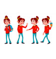 girl schoolgirl kid poses set high school vector image vector image