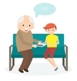 Grandfather with tablet Grandson teaches to use vector image