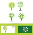 Green tree logo icon set vector image