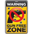 gun free zone sign with bullet holes vector image