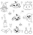 Halloween pumpkins ghost candy doodle set vector image vector image