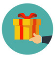 hand giving gift box to another gifting and vector image