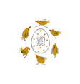 happy easter greeting card with egg and chicks vector image vector image