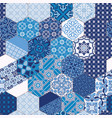 hexagonal azulejos blue tiles mosaic vector image