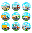 icons of warehouse and transportation services vector image vector image