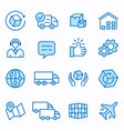 logistics flat line icon set vector image