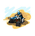 quad bike in desert with dust and sand vector image vector image
