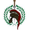roman helmet and sword vector image vector image